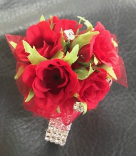 Red Spray Roses, Red Ribbon Corsage